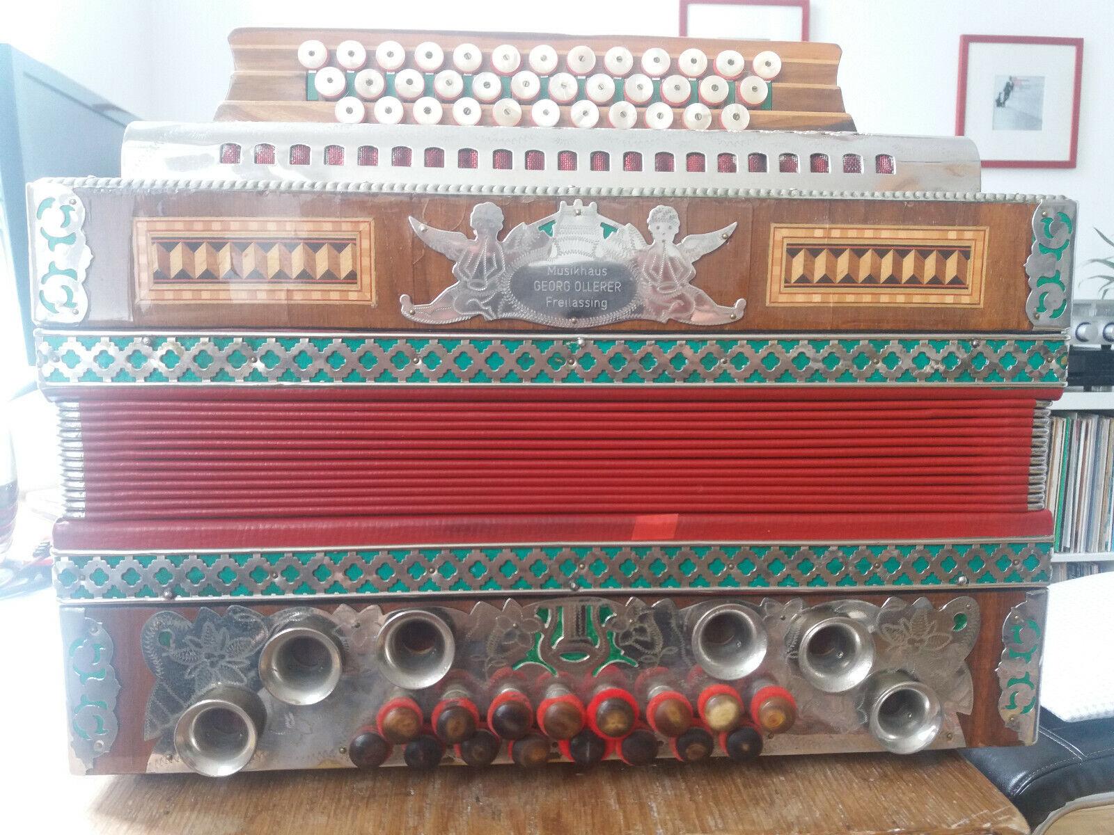 Steirische Handharmonika, Ziach Marke Öllerer, 4-reihig, dreichörig, B-Es-As-Des