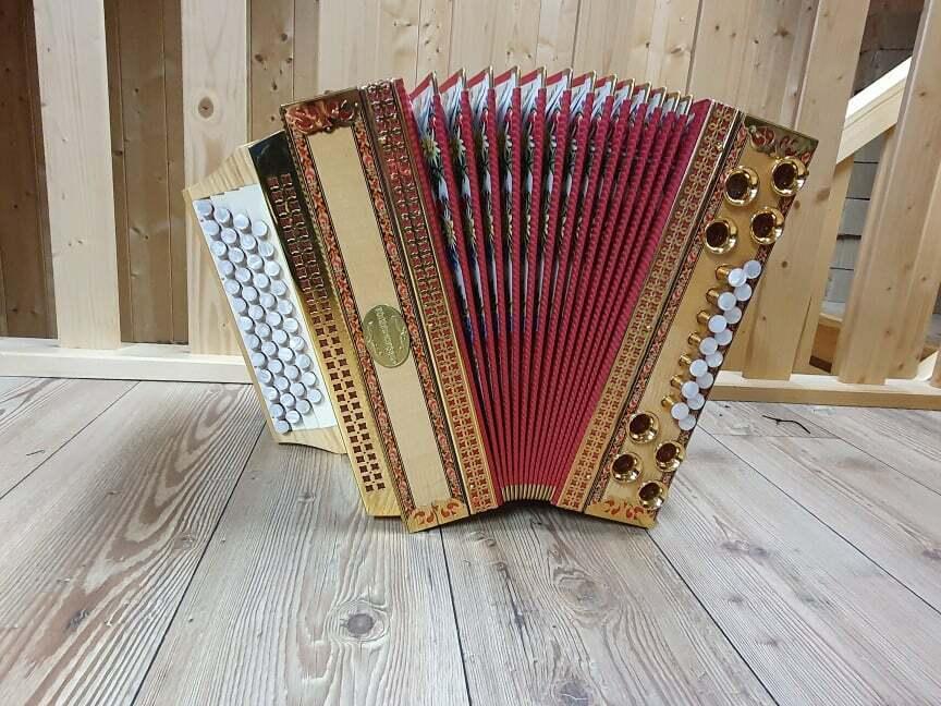 Steirische Harmonika Oberhorner A D G C mit Koffer & Riemen