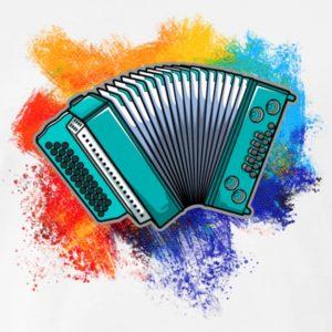 Blaugruene Harmonika mit Farbkleksen dahinter