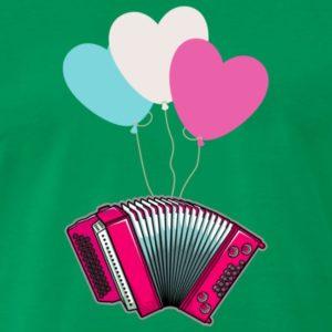 Pinke Harmonika hängt an 3 bunten Balloonen